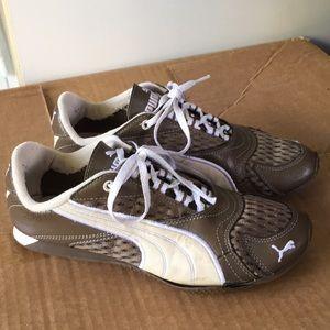 puma brown cream shoes